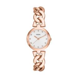 Damen Edelstahl-Uhr von Fossil, mit Rosegold;  der neueste Trend